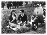 Vespa Piaggio Romance on the Grass Giclee Print