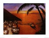 Coucher de soleil tahitien Affiches par David Marrocco