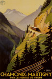 Reclameposter spoorlijn Chamonix-Martigny met Franse tekst Poster van Roger Broders