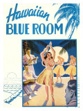 Hawaiian Blue Room, Hula Dance Giclée-tryk
