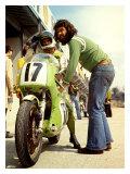 Poster d'une moto Kawasaki pendant un Grand Prix Reproduction procédé giclée