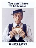 Buster Keaton Eats Levy Jewish Rye Giclée-tryk