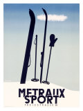 Metraux Downhill Ski Sports Reproduction procédé giclée