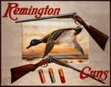 Remington Arms 2 Shotguns & Ducks Plaque en métal