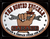 Busted Knuckle Garage Placa de lata