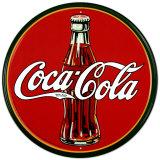 Coca-Cola, bottiglia degli anni '30 e logo rotondo Targa di latta