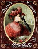 Coca-Cola victoriana en rojo Carteles metálicos