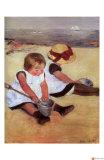 Children Playing on the Beach Giclee Print by Mary Cassatt