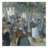 Marché à la volaille à Gisors Reproduction procédé giclée par Camille Pissarro
