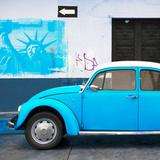 ¡Viva Mexico! Square Collection - Blue VW Beetle Car and American Graffiti Fotografisk trykk av Philippe Hugonnard