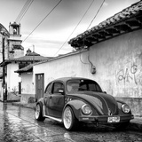 ¡Viva Mexico! Square Collection - VW Beetle Car in San Cristobal de Las Casas B&W Photographic Print by Philippe Hugonnard