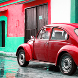 ¡Viva Mexico! Square Collection - VW Beetle and Red Wall II Photographic Print by Philippe Hugonnard