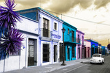 ¡Viva Mexico! Collection - Colorful Facades and White VW Beetle Car III Photographic Print by Philippe Hugonnard