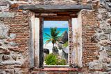 ¡Viva Mexico! Window View - Caribbean Coastline in Tulum Fotografie-Druck von Philippe Hugonnard