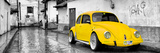 ¡Viva Mexico! Panoramic Collection - Yellow VW Beetle Car in San Cristobal de Las Casas Fotografisk tryk af Philippe Hugonnard