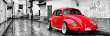¡Viva Mexico! Panoramic Collection - Red VW Beetle Car in San Cristobal de Las Casas Fotografisk tryk af Philippe Hugonnard