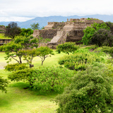 ¡Viva Mexico! Square Collection - Pyramid Maya of Monte Alban IV Photographic Print by Philippe Hugonnard
