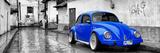 ¡Viva Mexico! Panoramic Collection - Royal Blue VW Beetle Car in San Cristobal de Las Casas Fotografisk tryk af Philippe Hugonnard