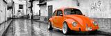 ¡Viva Mexico! Panoramic Collection - Orange VW Beetle Car in San Cristobal de Las Casas Fotografisk trykk av Philippe Hugonnard