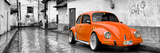 ¡Viva Mexico! Panoramic Collection - Orange VW Beetle Car in San Cristobal de Las Casas Impressão fotográfica por Philippe Hugonnard