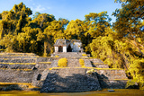 ¡Viva Mexico! Collection - Mayan Ruins with Fall Colors in Palenque Reproduction photographique par Philippe Hugonnard