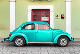 ¡Viva Mexico! Collection - The Teal VW Beetle Car with Lime Green Street Wall Photographic Print by Philippe Hugonnard
