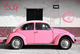 ¡Viva Mexico! Collection - VW Beetle Car and Light Pink Graffiti Photographic Print by Philippe Hugonnard