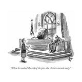 """""""When he reached the end of the pier, the rhetoric turned nasty.""""  - New Yorker Cartoon Impressão giclée premium por Frank Cotham"""