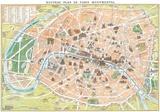 Nouveau Plan De Paris Monumental- Antique Map Of Paris Affischer