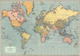 Mondo Moderno (Modern World)- World Map Kunstdruck