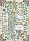 Pictorial Map Of Manhattan, New York Julisteet