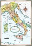 Regions Of Italy Map Plakat