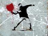 Painted heart Thrower Gicléedruk van  Banksy