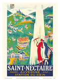 Saint-Nectaire - Auvergne, France - Casino, Golf - Station du Rein - PLM French Railroad 高品質プリント : Roger De Valerio