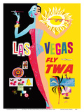 Las Vegas - Fly TWA (Trans World Airlines) - with Lockheed L-1049 Super Constellation Aircraft Prints by David Klein