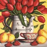 Tulipes rouges Poster par Kathy Middlebrook