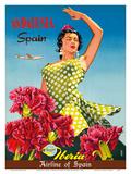 Andalusia, Spain - Iberia Air Lines of Spain - Flamenco Dancer Art par  Goros