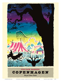 Copenhagen, Denmark - Bakken Fun Fair Amusement Park - Royal Deer Park (Dyrehavsbakken) Poster af Des Asmussen