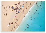 Aerial Beach View Sunbathers Wood Sign