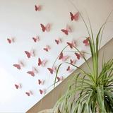 3D Butterflies - Pink Autocollant mural