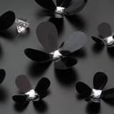 3D Crystal Flowers - Black Wandtattoo