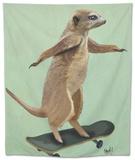 Meerkat on Skateboard Tapestry by  Fab Funky