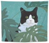 Black and White Cat with Green Eyes Tapestry