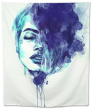 Beautiful Woman Face. Abstract Watercolor. Fashion Illustration Tapestry by Anna Ismagilova