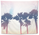 Silhouette Palm Trees at Sunset Tapestry by  pkanchana