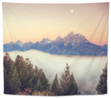 Moonlight and Foggy Snake River Overlook, Grand Teton Tapestry by Vincent James