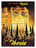 Spain Holy Week Iberia Air Lines Prints by  Pacifica Island Art