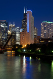 Chicago Skyline and River from Grand Avenue Bridge Photographic Print by Alan Klehr