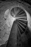 Mexico, Black and White Image of Circular Stone Staircase in Mission De San Francisco San Borja Photographic Print by Judith Zimmerman