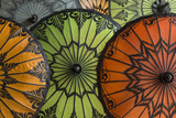 Myanmar, Bagan. Handmade and Painted Parasols on Display in a Shop Reproduction photographique par Brenda Tharp